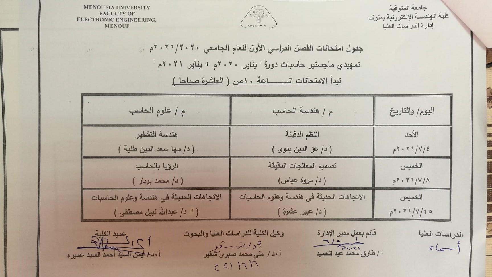 جدول امتحانات تمهيدى ماجستير حاسبات دورة يناير 2020+ يناير 2021