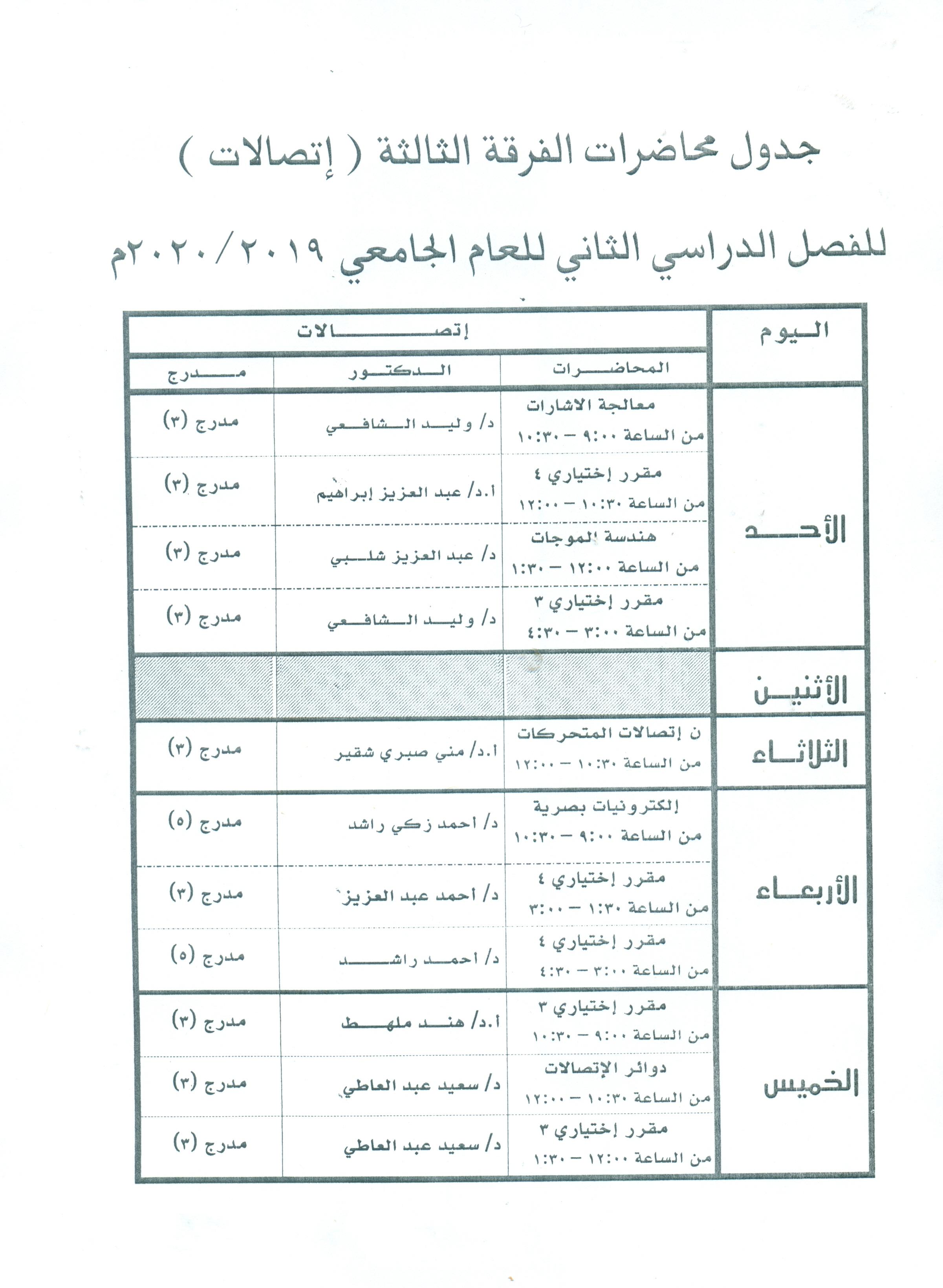جدول محاضرات الفرقة الثالثة