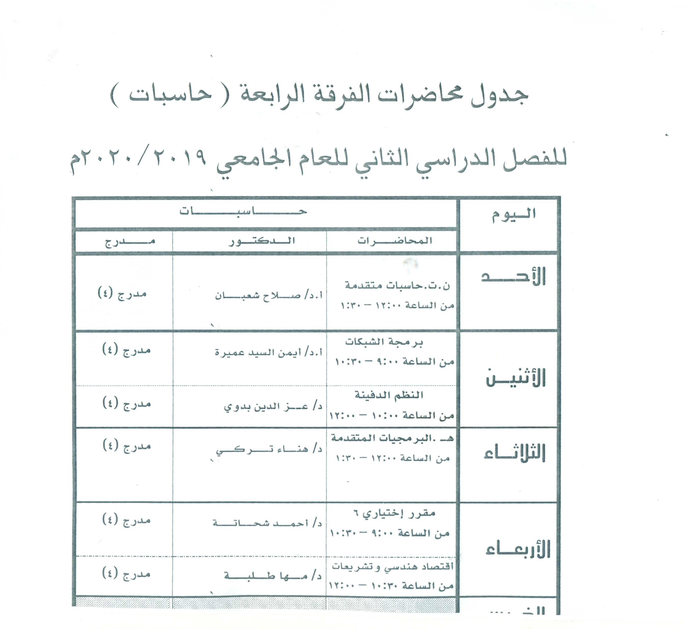 جدول محاضرات الفرقة الرابعة