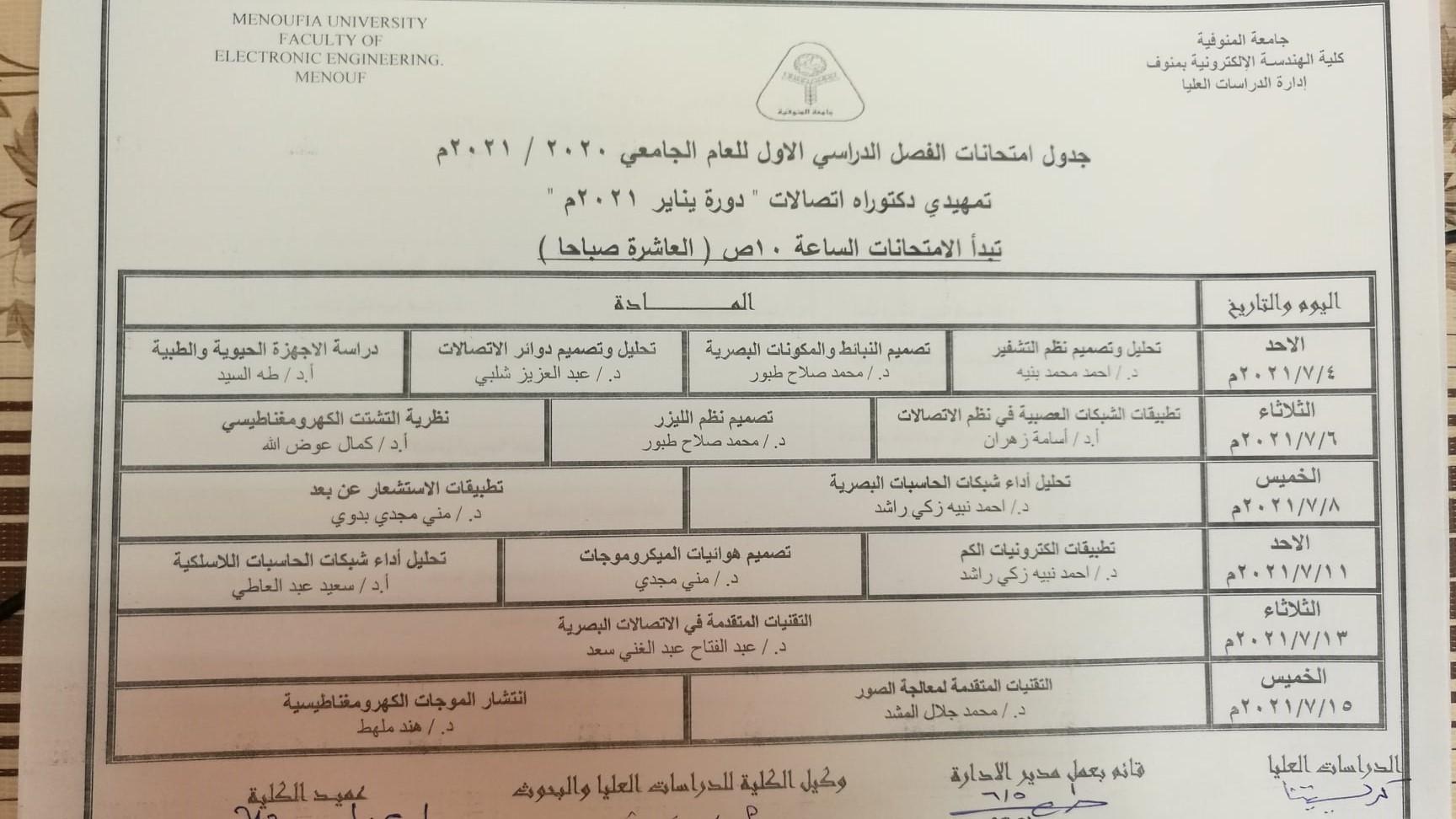جدول امتحانات الفصل الدراسي الثانى للعام الجامعى 2021/2020