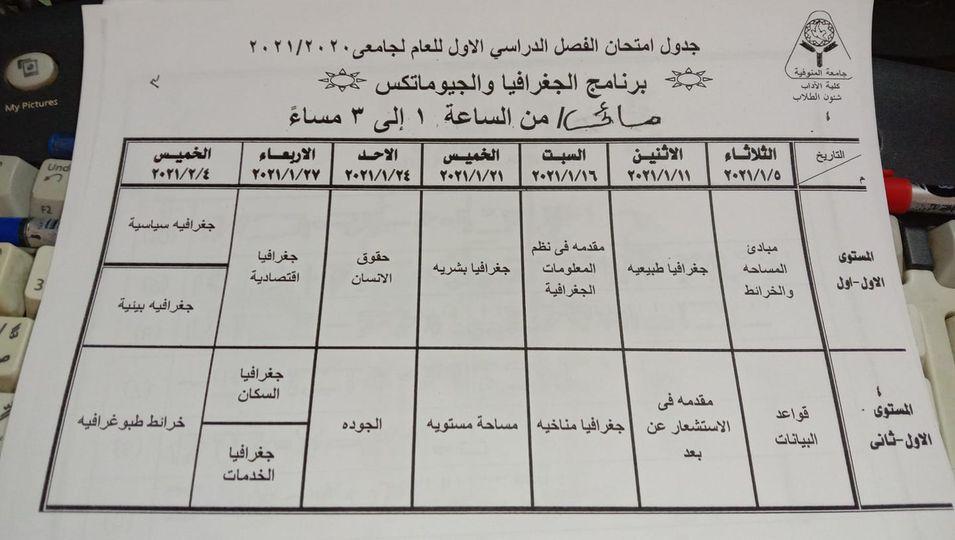 جدول امتحانات الجيوماتكس