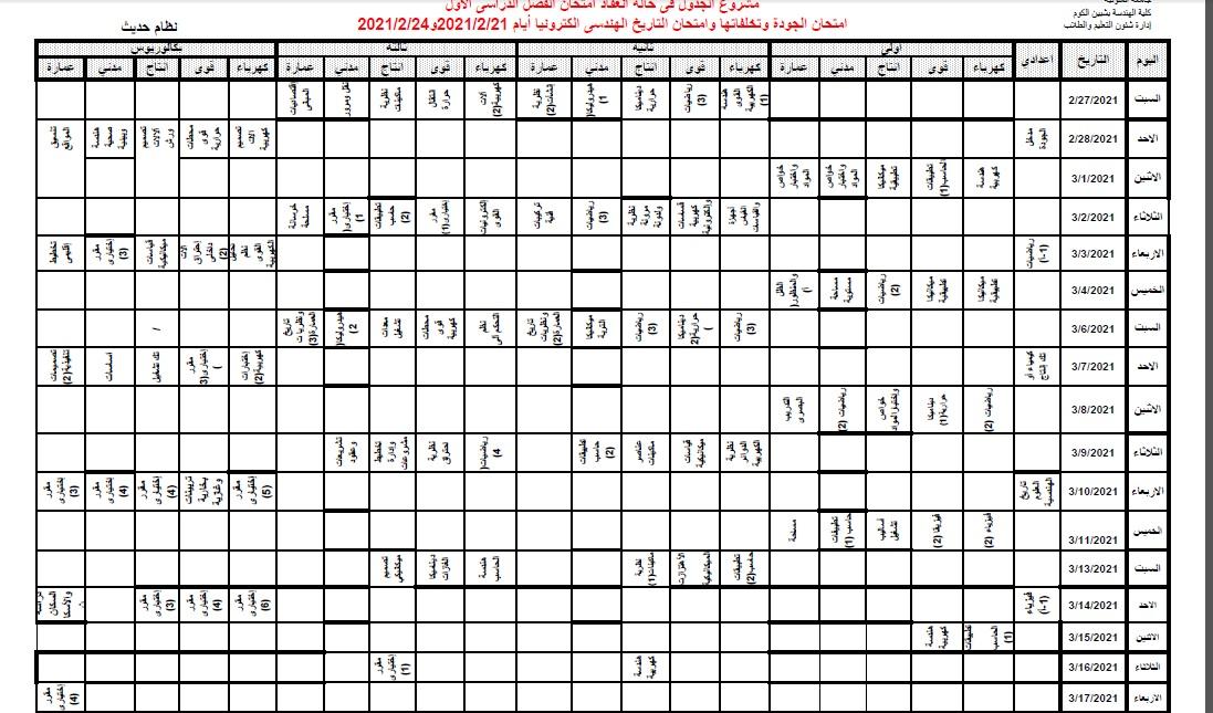مشروع جدول امتحانات الفصل الدراسى الأول 2021/2020 (فى حال انعقاد الامتحانات):