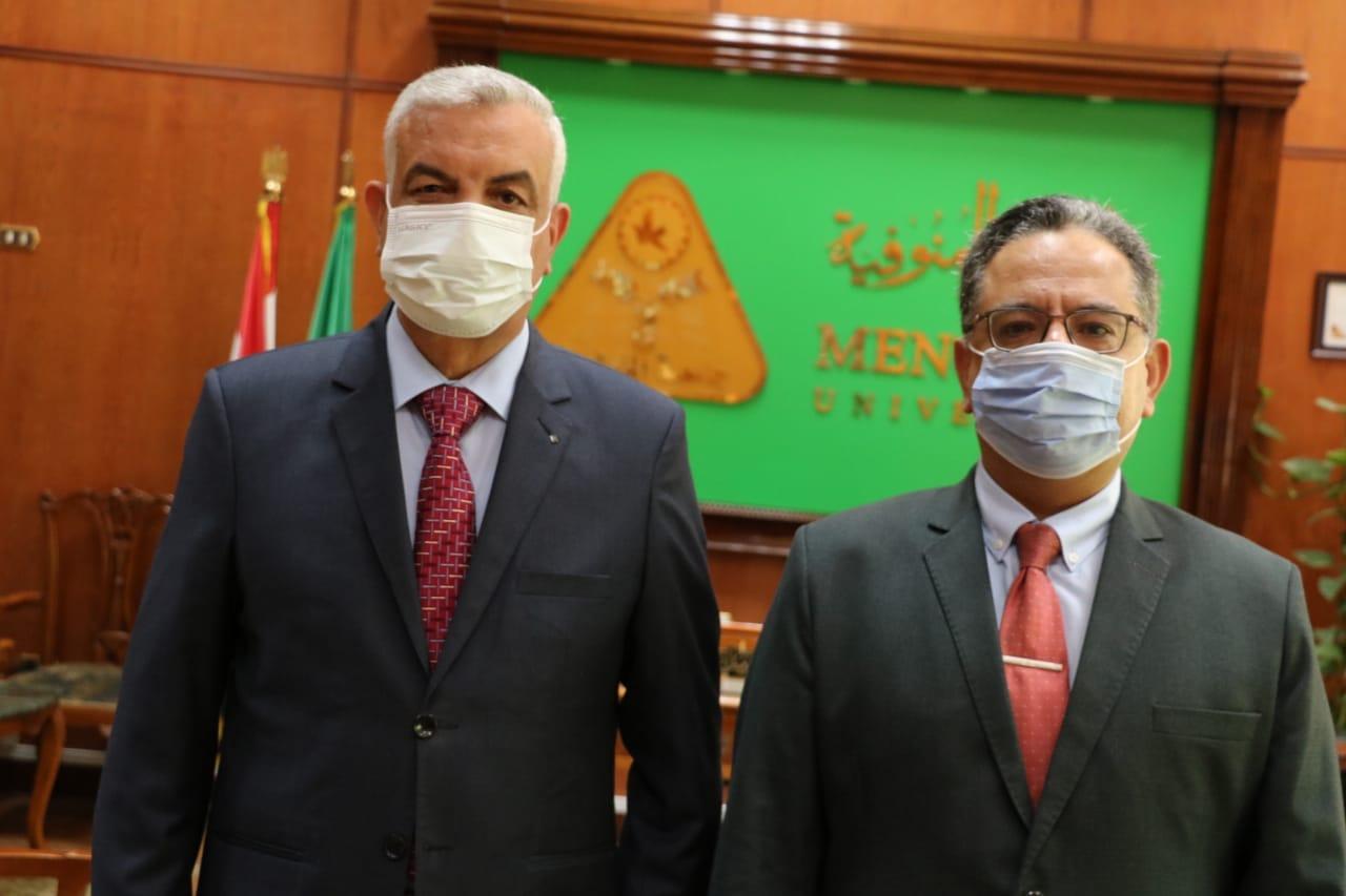 The Preident of Menoufia University congratulates the Dean of Veterinary Medicine