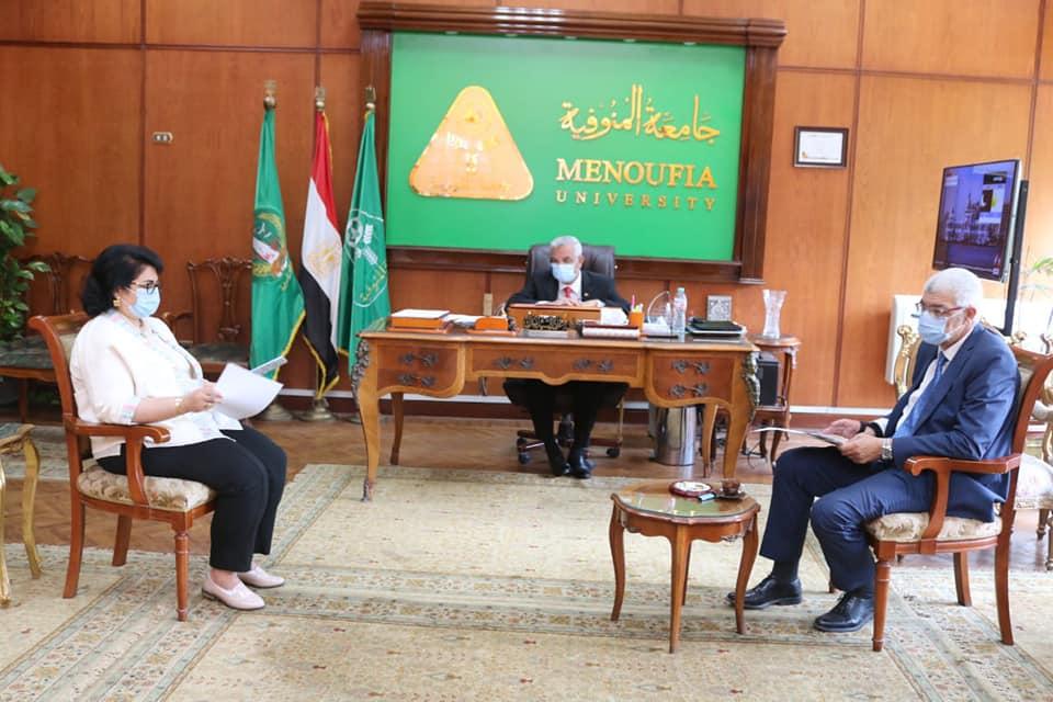 رئيس جامعة المنوفية يجتمع بمجلس إدارة المركز الدولى لتنمية قدرات أعضاء هيئة التدريس