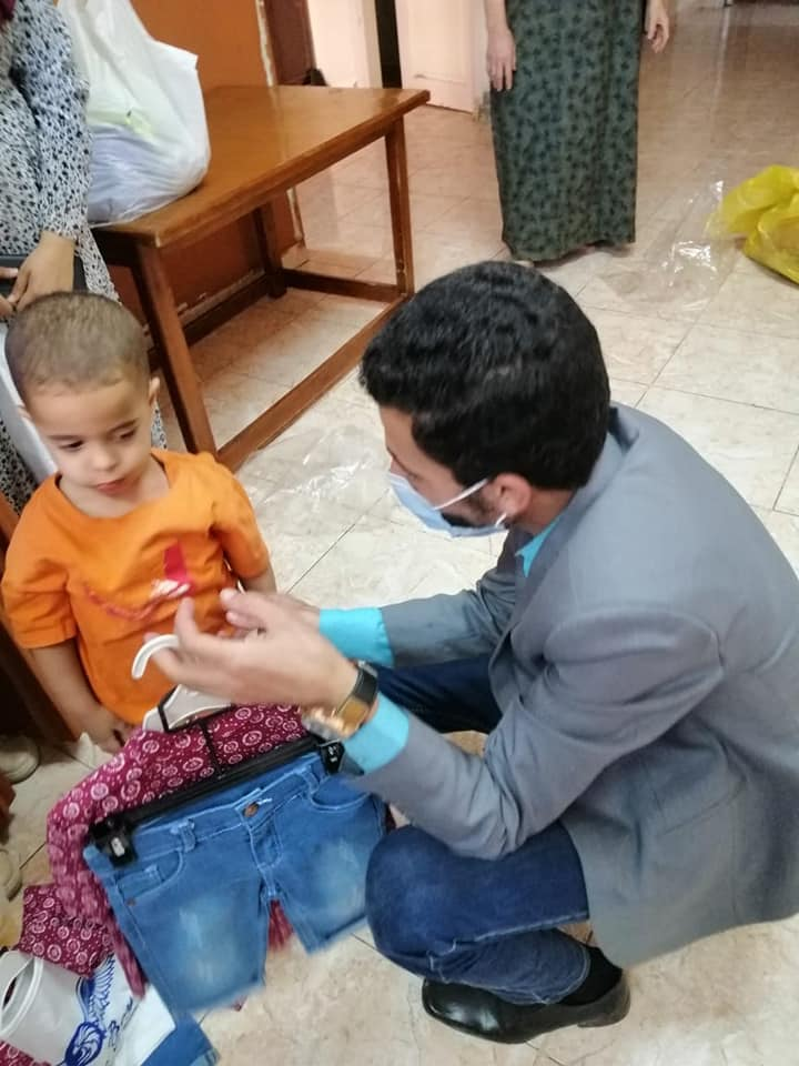 Students of the University of Menoufia visiting orphanages and the elderly to congratulate Eid al-Fitr.