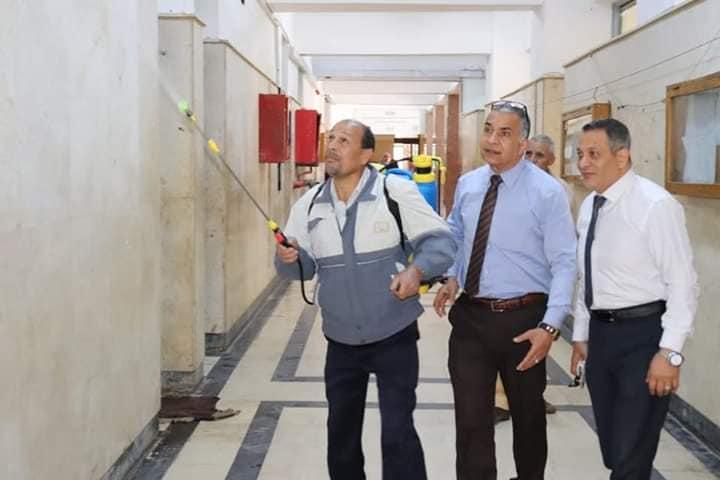 تعقيم وتطهير كلية الإقتصاد المنزلي جامعة المنوفية لمواجهة كورونا المستجد
