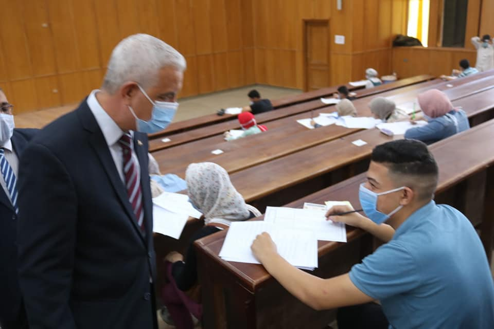 Menoufia University President concludes his tour today by inspecting the tests at Faculty of Mass Communication .